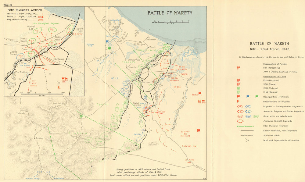 Associate Product Battle of Mareth 16-23 March 1943. Tunisia. World War 2. North Africa 1966 map
