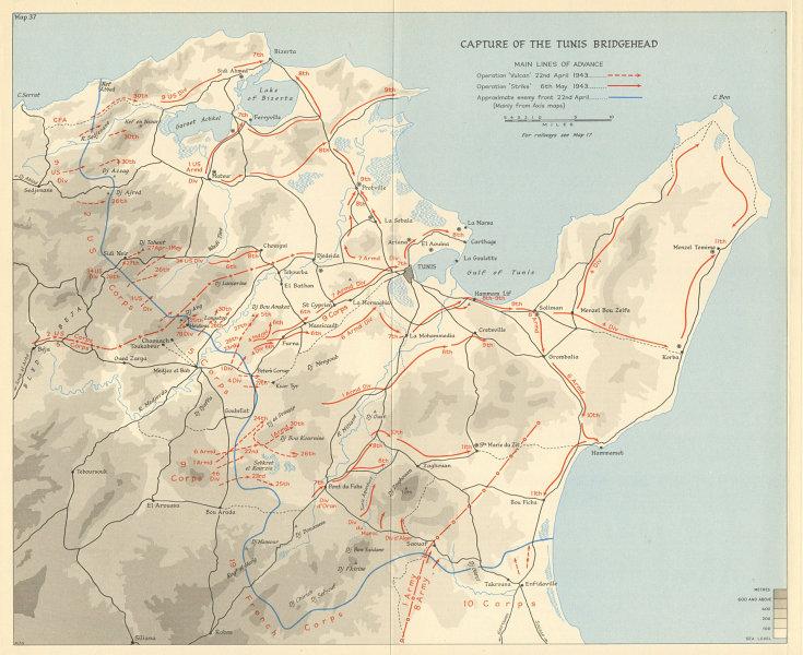 Associate Product Capture of Tunis Bridgehead April-May 1943. Operations Vulcan & Strike 1966 map