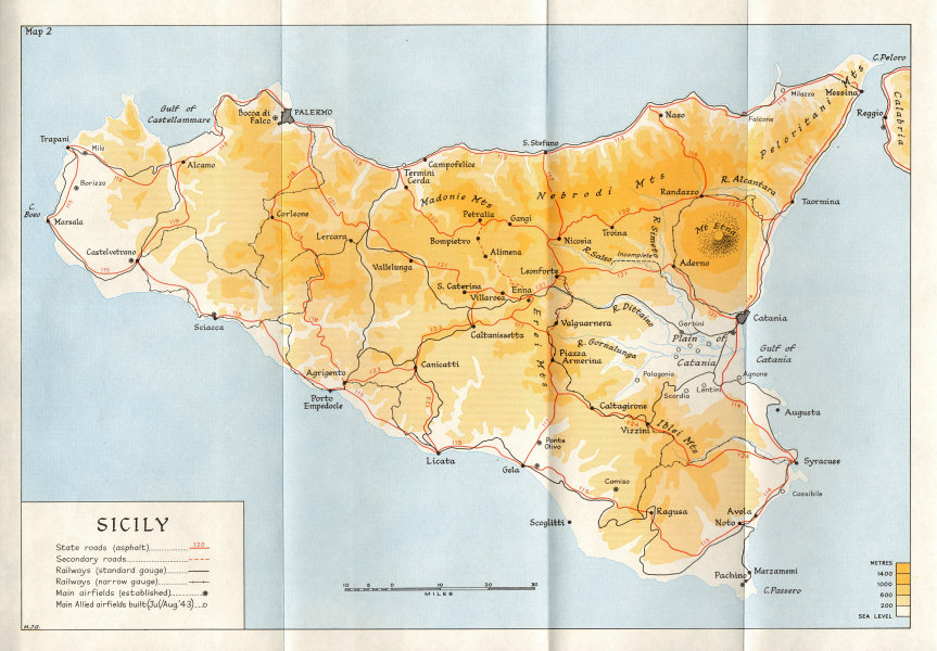 Associate Product ITALY. Origin & Preparation of Invasion Sicily (Jan 1943 to July)  1973 map