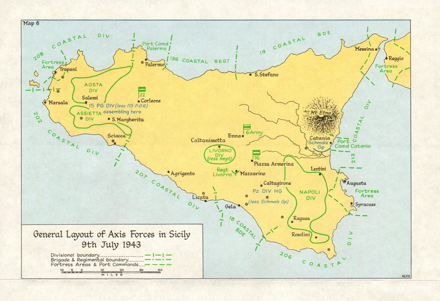 Associate Product ITALY. Allies Land in Sicily July 1943. Axis forces 9th 1973 old vintage map