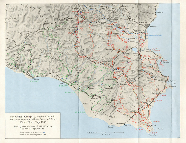 Associate Product ITALY. Allied Landings Sicily July 1943. 8th Army Catania Etna 1973 old map