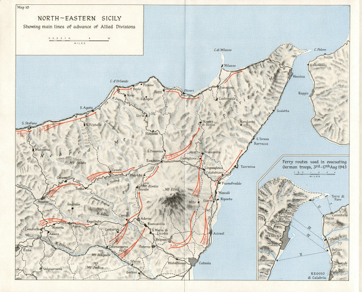 Associate Product SICILY. Allies;Etna;July-Aug 1943;Ferry routes evacuating German troops 1973 map