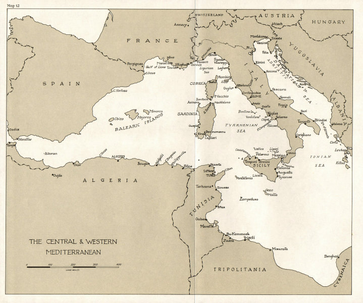 Associate Product EUROPE. Breaking of Rome-Berlin Axis. Central & Western Mediterranean 1973 map