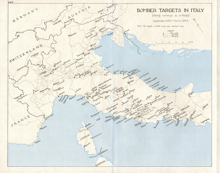 Associate Product ITALY. Invasion of. Calabria Sep 1943. Bomber targets in 1973 old vintage map