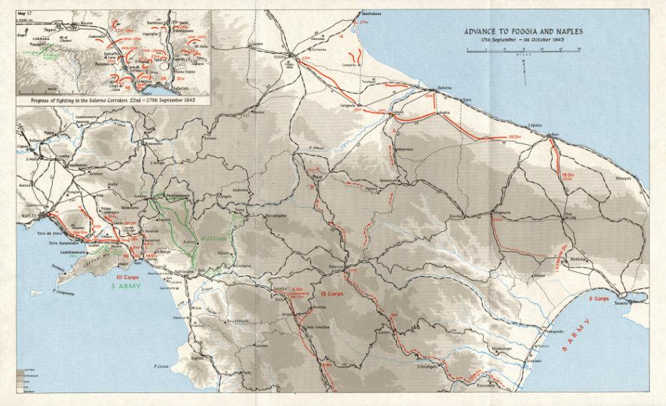 SALERNO LANDINGS. Sept-October 1943. Foggia Naples advance; Corridors 1973 map