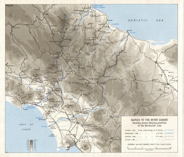Associate Product ITALY. Advance to Naples & Foggia(Sep-Oct 1943). Sangro; Bernhardt line 1973 map