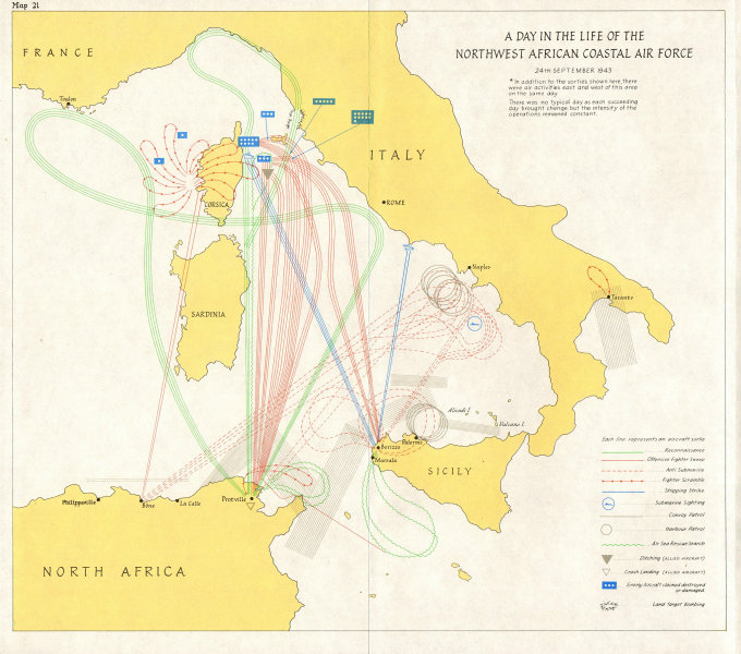 Associate Product NORTH AFRICA. Naval activity,June-Oct 1943;NW African coastal Air force 1973 map
