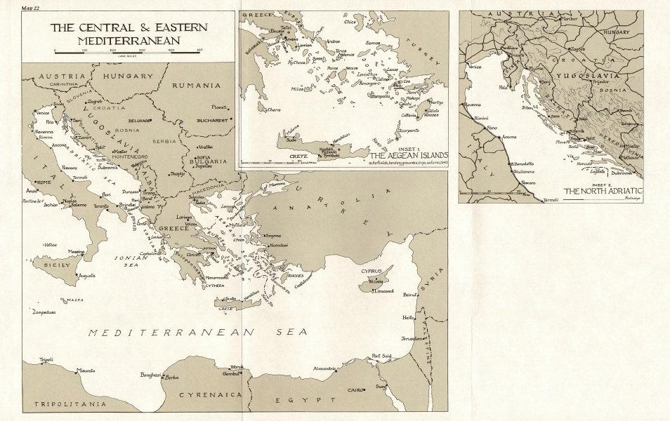 Associate Product MEDITERRANEAN.Naval activity, June-Oct 1943.Centre east;Aegean;Adriatic 1973 map