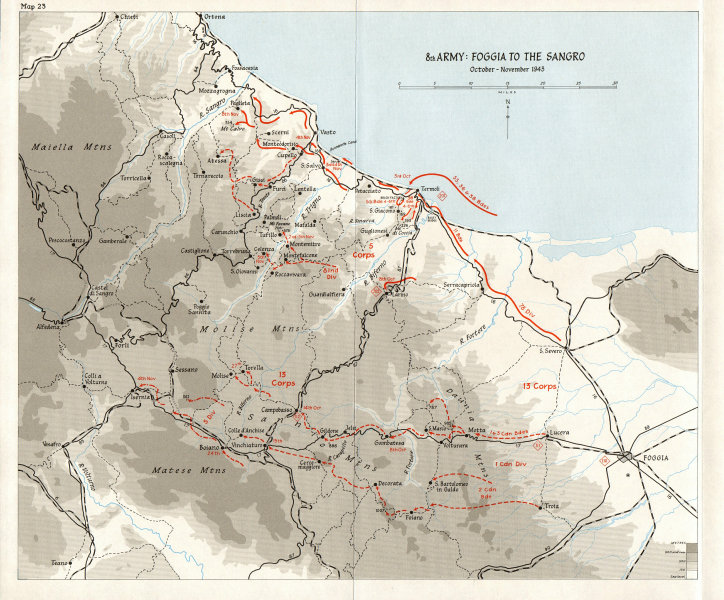 Associate Product ITALY. Winter line (Oct-Nov 1943) . 8th Army. Foggia to the Sangro 1973 map