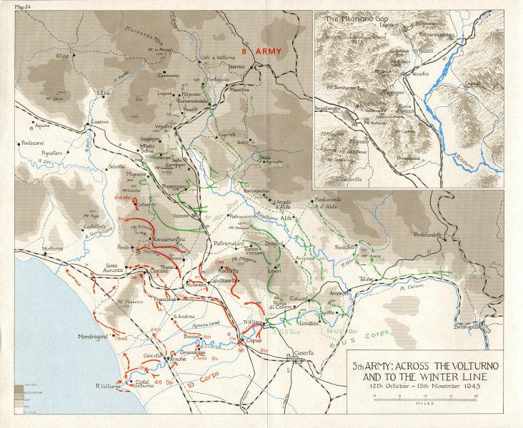 Associate Product VOLTURNO. Winter line Oct-Nov 1943. 5th Army. Across; Inset map Mignano Gap 1973