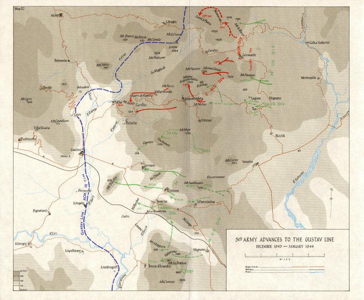 Associate Product BERNHARDT LINE ASSAULT. Nov-Dec 1943 . 5th Army Advances to Gustav 1973 map