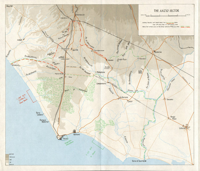 Associate Product ITALY. The Allied Landing at Anzio (January 1944) . The Anzio sector 1973 map