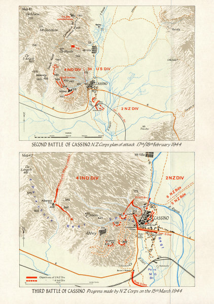 Associate Product ITALY. February-March 1944. 1st 2nd 3rd Battles NZ corps 1973 old vintage map