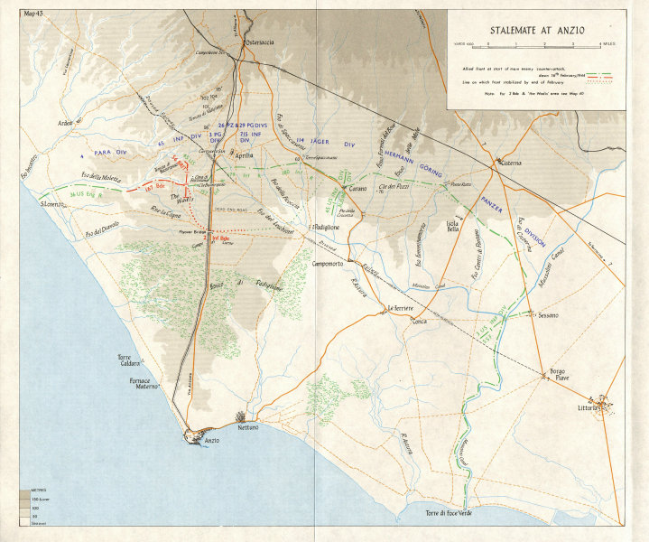 Associate Product ITALY. German counter-offensive at Anzio (Feb-March 1944) . Stalemate 1973 map