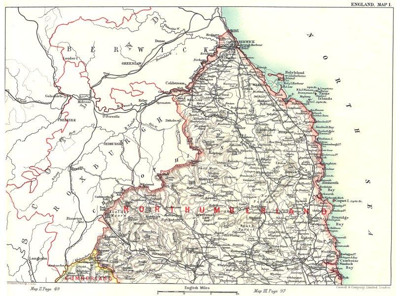 Associate Product NORTHUMBERLAND. Cheviot Hills Roxburgh Berwick Selkirk. Scotland 1893 old map