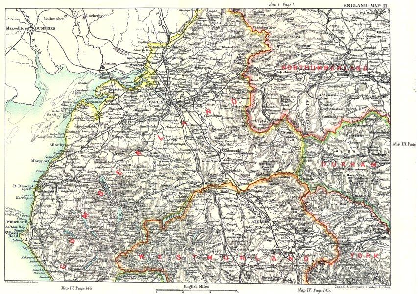 Associate Product NW ENGLAND. Cumbria Westmorland Carlisle Lake District. Northumberland 1893 map