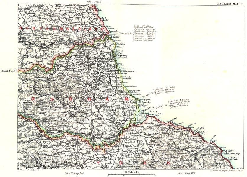 NE ENGLAND COAST. Northumberland Durham Yorkshire Newcastle-upon-Tyne 1893 map