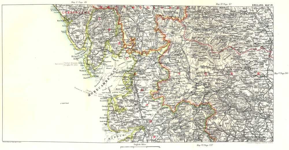 Associate Product N LANCASHIRE & W YORKSHIRE. Kendal Leeds Morecambe Bay Ribble Valley 1893 map