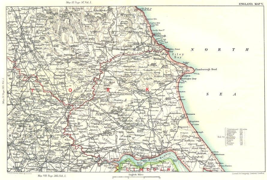 Associate Product YORKSHIRE COAST. York Humber estuary Northallerton Harrogate Filey 1893 map