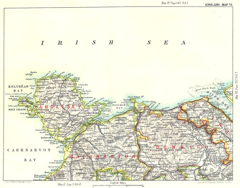 Map Of England Holyhead.Details About Nw Wales Anglesey Caernarfonshite Denbighshire Flint Holyhead River Dee 1893 Map