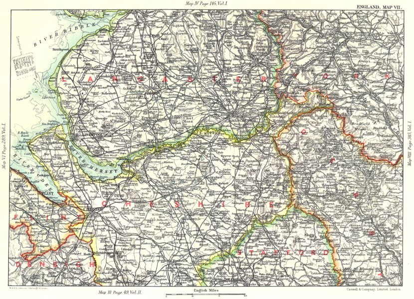 Associate Product NW ENGLAND. Lancashire Cheshire Peak District Liverpool Manchester 1893 map