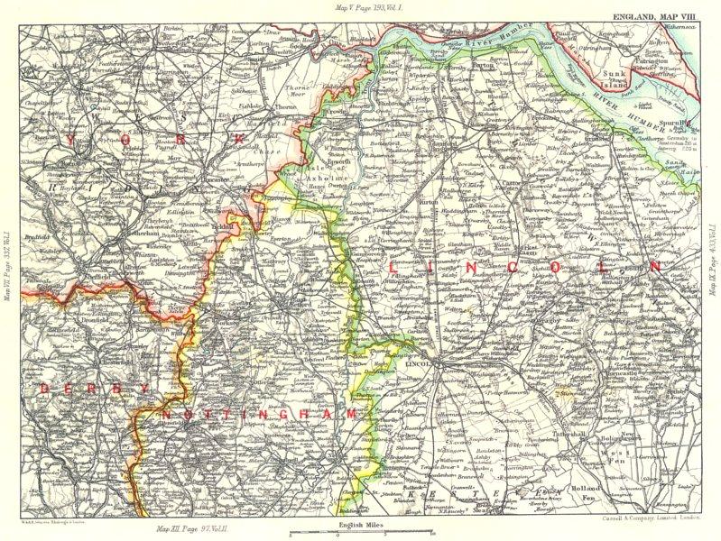 Associate Product EAST ENGLAND. Humber Estuary Lincolnshire Nottinghamshire S Yorkshire 1893 map