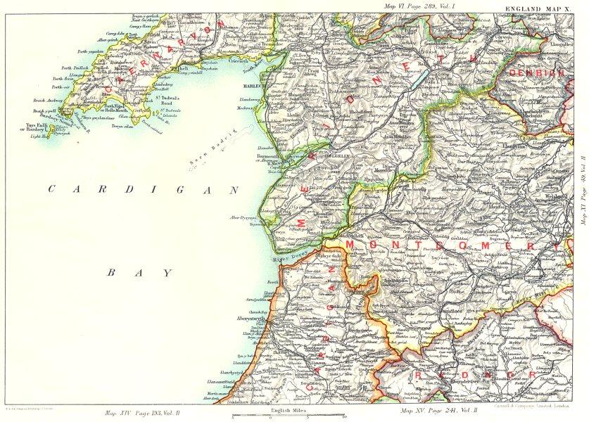 Associate Product CARDIGAN BAY. Llyn Peninsula Caernarfon Merionethshire Montgomeryshire 1893 map
