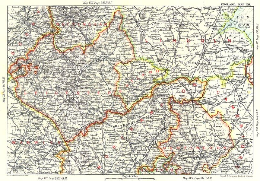 Associate Product EAST MIDLANDS. Fens Northants Leics Rutland Lincs Huntingdonshire 1893 old map