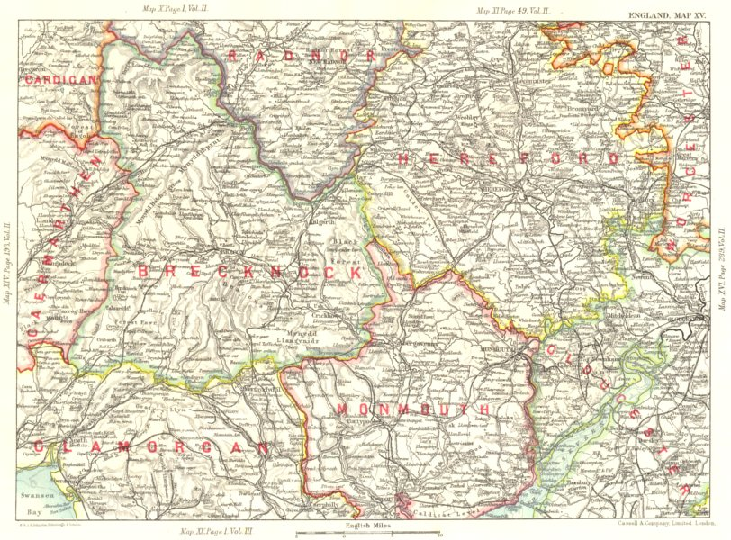 Associate Product WELSH MARCHES. Herefordshire Brecon Beacons Severn Monmouth Brecknock 1893 map