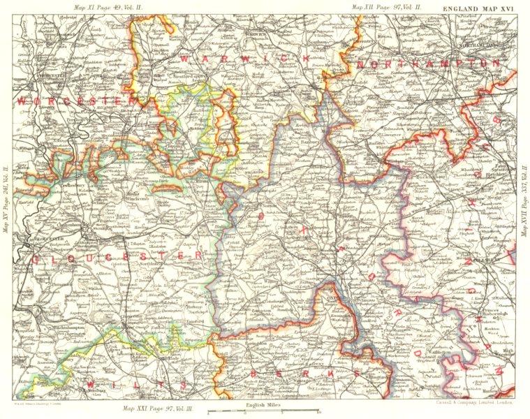 Associate Product COTSWOLDS. Central England.Warcs Worcs Glos Wilts Northants Oxon Bucks 1893 map