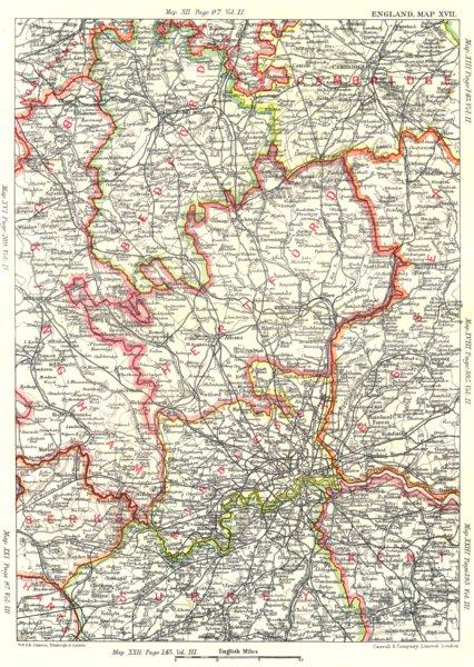Associate Product LONDON & CHILTERNS. Bucks Berks Middx Surrey Kent Essex Beds Essex 1893 map