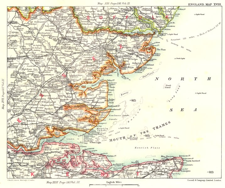 Associate Product THAMES ESTUARY/HAVEN PORTS. Suffolk Essex Kent Medway Ipswich Harwich 1893 map