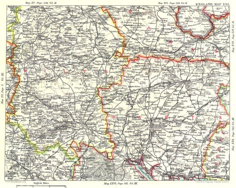 Associate Product SALISBURY PLAIN & HAMPSHIRE DOWNS.Wiltshire Berkshire Hants Winchester 1893 map
