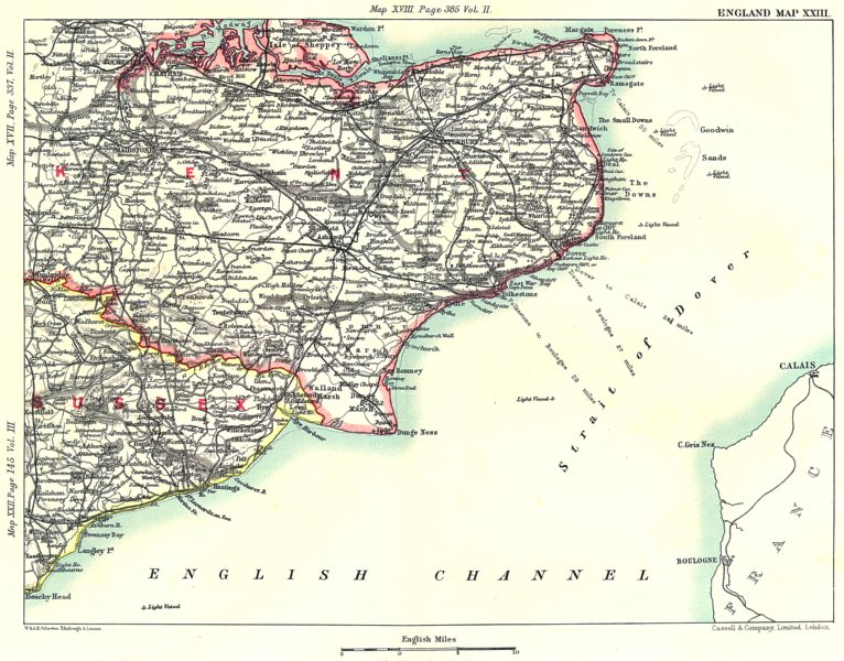 Map Of England Dover.Details About Kent East Sussex Coast Dover Rochester Chatham Maidstone Canterbury 1893 Map
