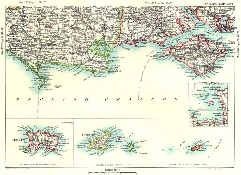 Associate Product DORSET & HAMPSHIRE COAST.Channel Islands Guernsey Jersey Isle of Wight 1893 map