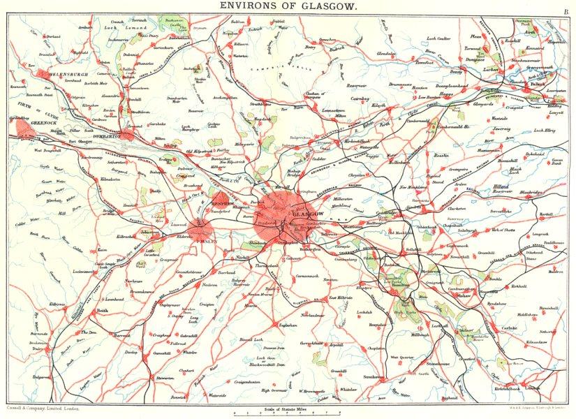 GLASGOW & ENVIRONS.Firth of Clyde.Paisley Renfrew Greenock Helensburgh 1893 map