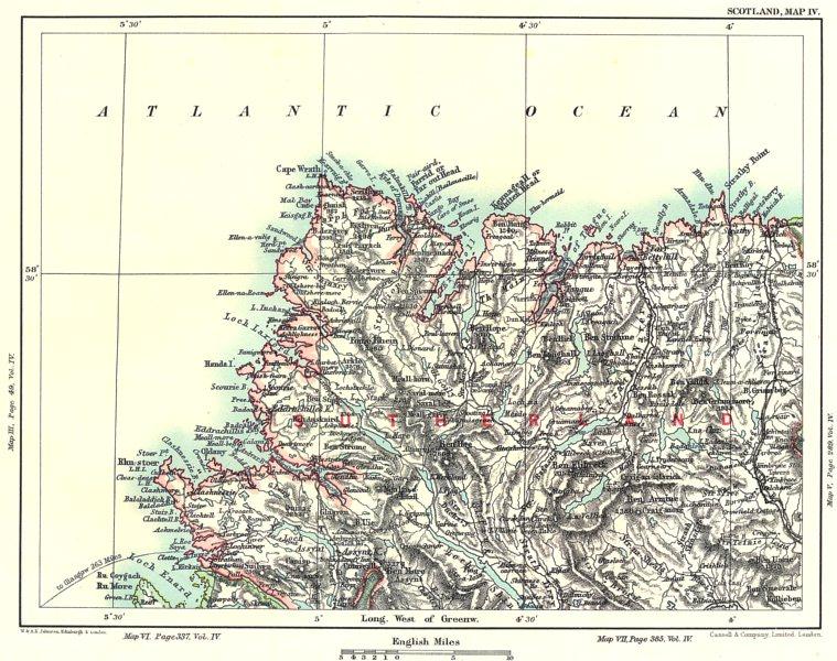 Associate Product SUTHERLAND/CAPE WRATH. Loch Enard Assynt Stomine. Scottish Highlands 1893 map