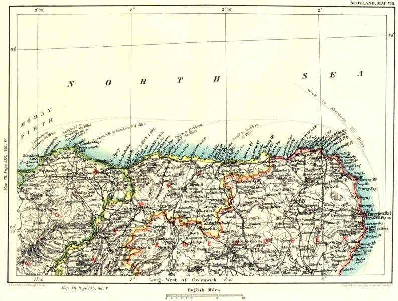 Associate Product MORAY & ABERDEENSHIRE COAST. Elgin Banff Monquhitter Turiff Knockando 1893 map