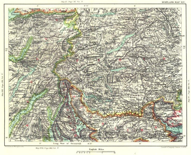 Associate Product ARGYLL STIRLINGSHIRE & PERTHSHIRE. Loch Lomond Tay Fyne Rannoch Katrine 1893 map