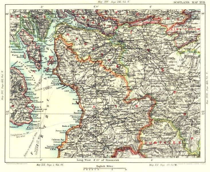 Associate Product FIRTH OF CLYDE & GLASGOW. Ayrshire Renfrewshire Dumbarton Lanarkshire 1893 map