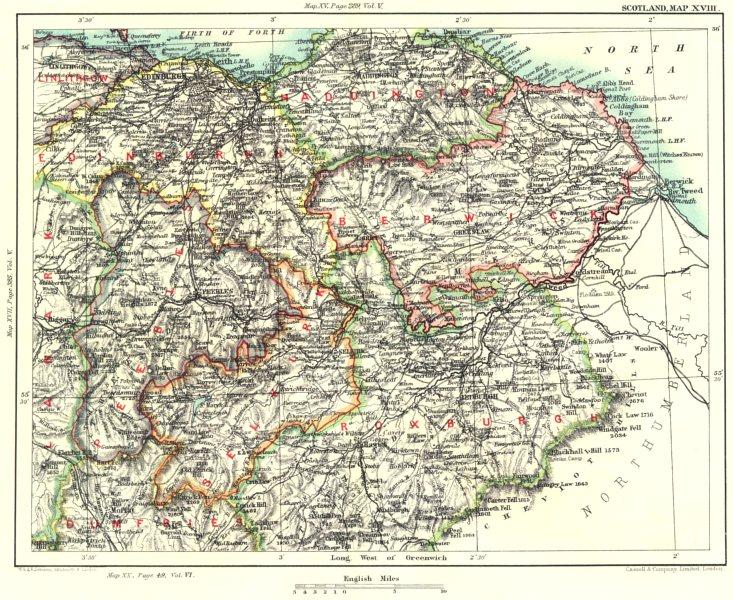 Associate Product EDINBURGH & SCOTTISH BORDERS.East/Midlothian Peeblesshire Selkirkshire 1893 map