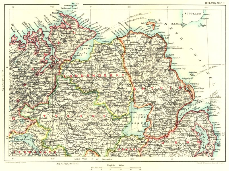 Associate Product ULSTER. Londonderry Donegal Tyrone Fermanagh Armagh Down Antrim Omagh 1893 map