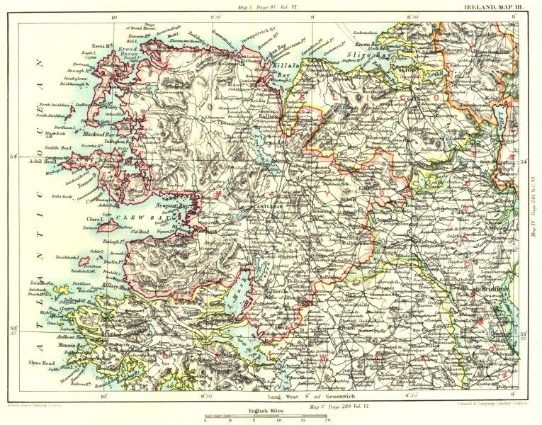 Associate Product CONNAUGHT.Mayo Galway Sligo Leitrim Roscommon Ballina Killala. Ireland 1893 map