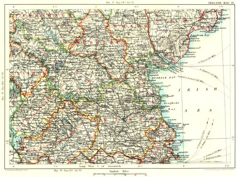 Associate Product IRELAND.Fermanagh Armagh Monaghan Leitrim Cavan Longford W Meath Dublin 1893 map
