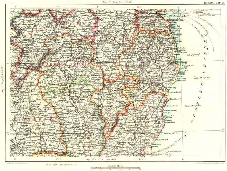 Associate Product LEINSTER.Offaly Laois Kildare Dublin Wicklow Tipperary Kilkenny Wexford 1893 map