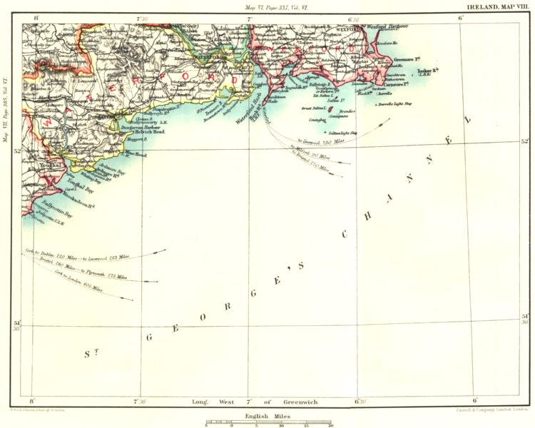 Associate Product SE IRELAND COAST. Waterford Wexford Dungarvan Youghal Carnsore Point 1893 map