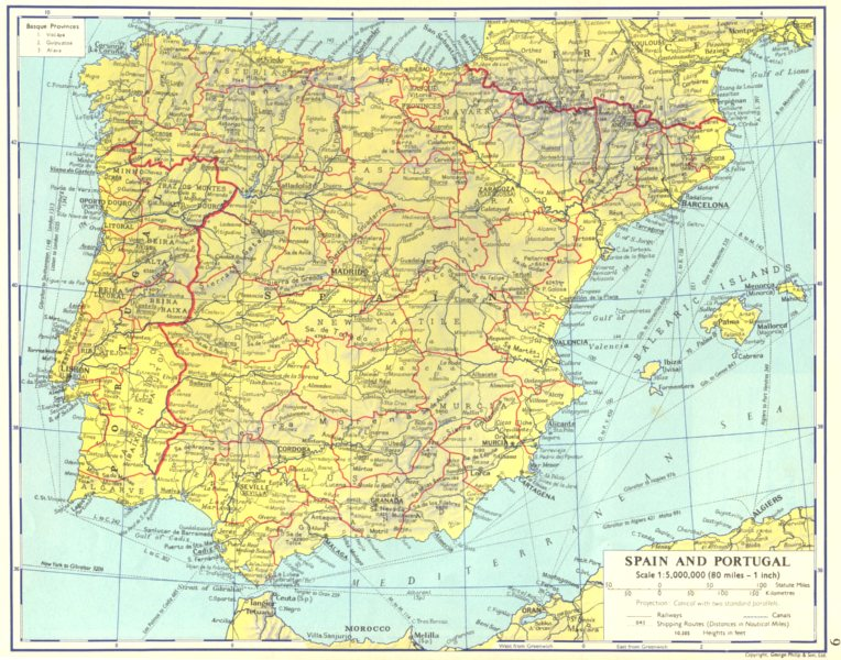 Associate Product IBERIA. Spain and Portugal 1962 old vintage map plan chart