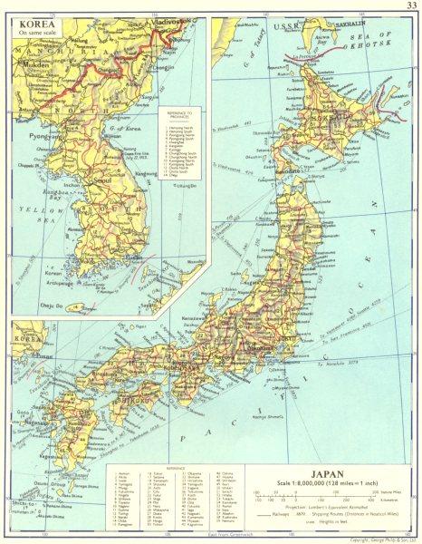 Associate Product JAPAN. Japan; Inset map Korea 1962 old vintage plan chart