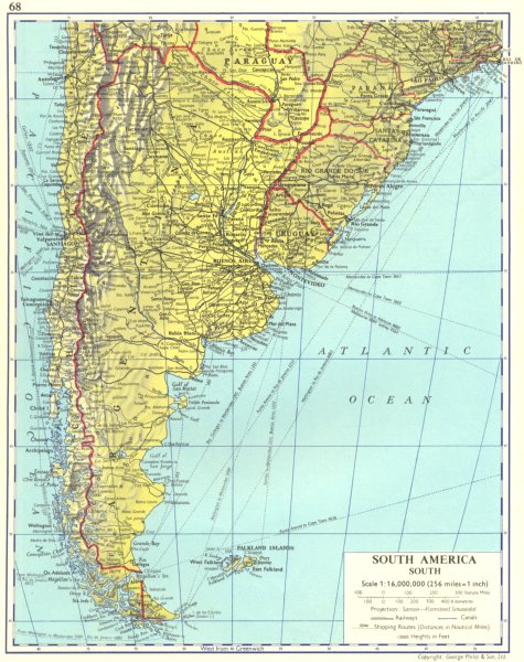 Associate Product SOUTH AMERICA. South. Argentina Chile Uruguay 1962 old vintage map plan chart