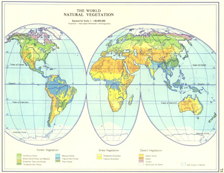 Associate Product WORLD. The World Natural Vegetation. Forest Grass Desert 1962 old vintage map